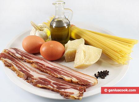 Ингредиенты для спагетти карбонара