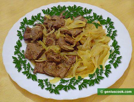 Печень говяжья по венециански