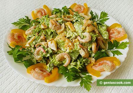 Салат-латук с креветками