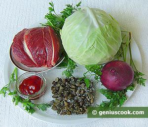 Салат из говядины с красным луком