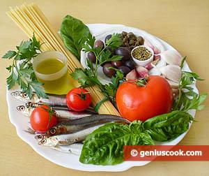 ингредиенты для спагетти с анчоусами