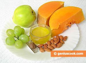 Ингредиенты для десерта с тыквой и айвой