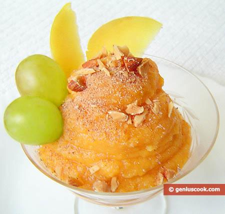 Десерт из тыквы с айвой