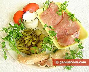 Ingredienti Petti di pollo con cetriolini e olive
