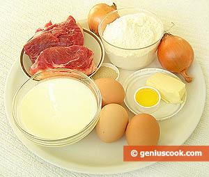 ингредиенты для печёных пирожков с мясом