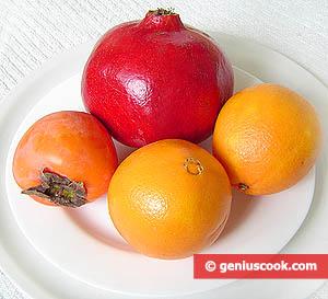 ингредиенты для фруктового салата с хурмой