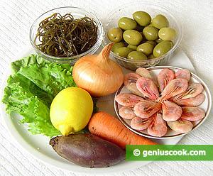ингредиенты для Салата из морской капусты с креветками