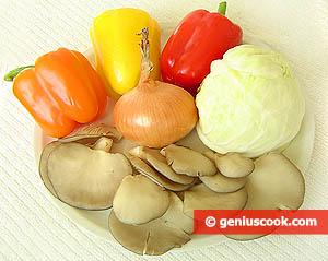 ингредиенты для грибов тушеных с овощами