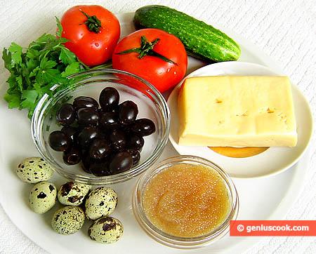 Ингредиенты для закуски с щучьей икрой
