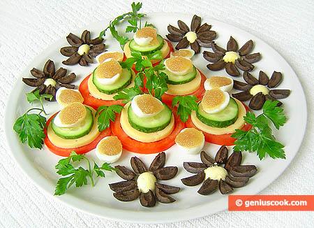 Закуска с перепелиными яйцами и икрой щуки