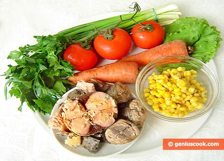 Ингредиенты для салата с тунцом