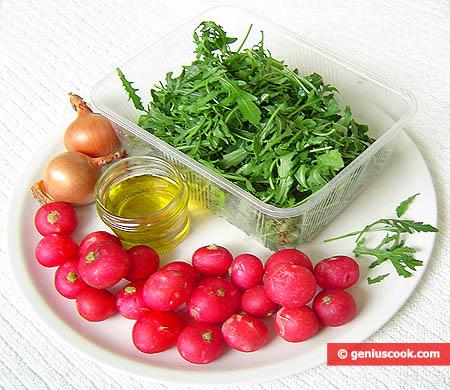 ингредиенты для салата с рукколой и редиской