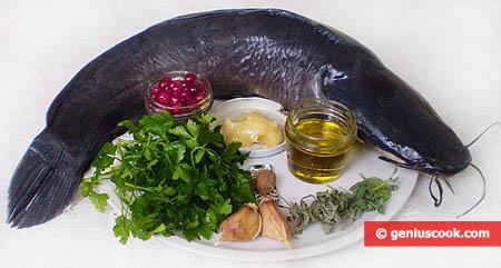 Ингредиенты для сома под клюквенным соусом