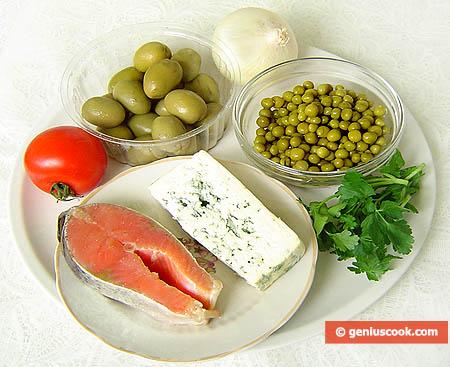 Ингредиенты для закуски с форелью и сыром