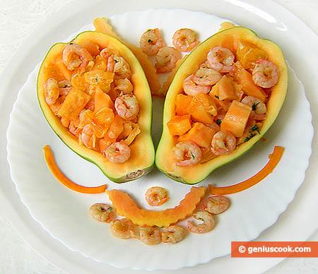 Салат из папайи и креветок