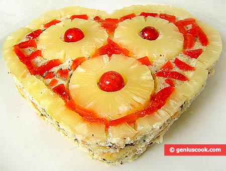 """Торт """"Тирамису"""" ко Дню Святого Валентина с заварным кремом и ананасом"""