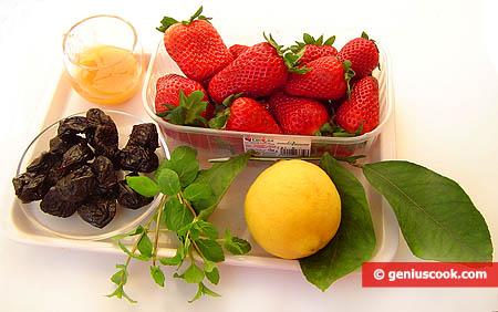 Ингредиенты для десерта из клубники с черносливом