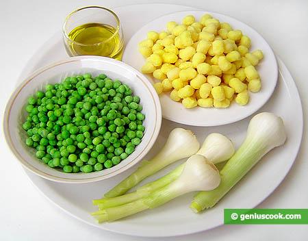Ингредиенты для зелёного горошка с ньокетти