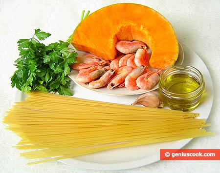 Ингредиенты для спагетти с тыквенным соусом