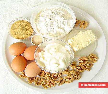 Ингредиенты для сдобного рулета с орехами