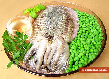 Ингредиенты для каракатицы тушёной с горошком