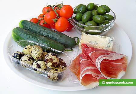 Ингредиенты для закуски с фаршированными оливками