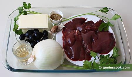 Ингредиенты для паштета из кроличьей печени с оливками