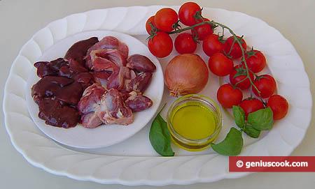 Ингредиенты для куриных потрошков в томатном соусе