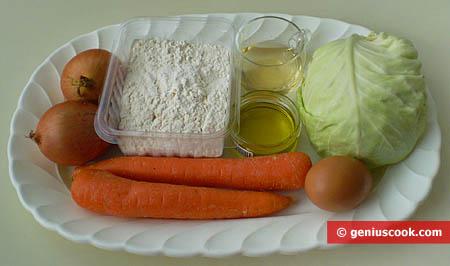 Ингредиенты для капустного пирога из вытяжного теста