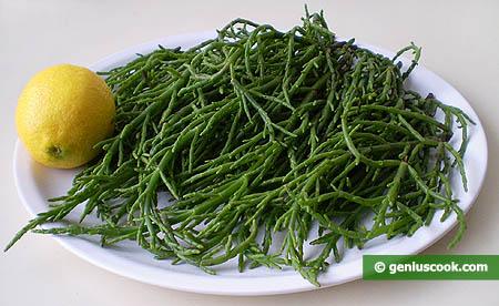 Ингредиенты для салата из морской спаржи