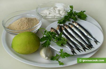 Ингредиенты для фаршированных и запечённых анчоусов