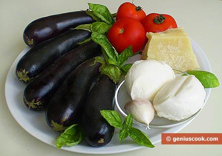 Ингредиенты для баклажанов запечённых с Пармезаном и моцареллой