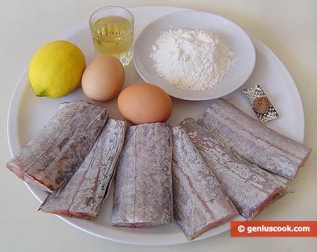 Ингредиенты для рыбы-сабли в кляре с белым вином