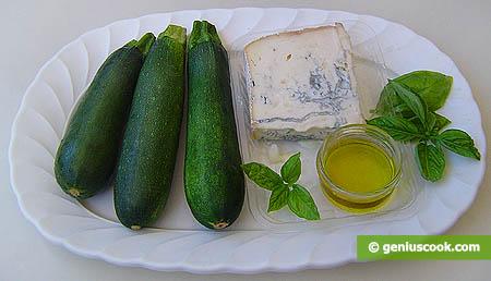 Ингредиенты для цуккини с сыром с плеснью Горгонзолла