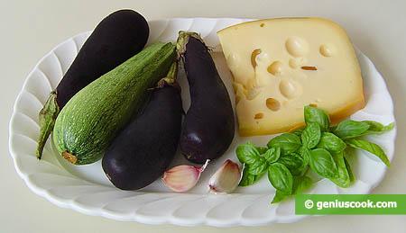 Ингредиенты для язычков из баклажанов и кабачков с сыром