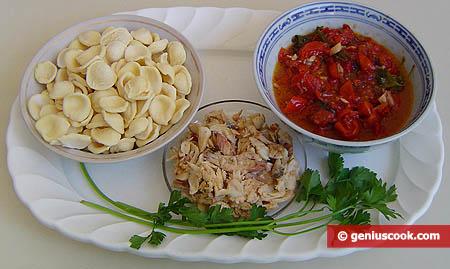 Ингредиенты для пасты с рыбно-креветочным соусом