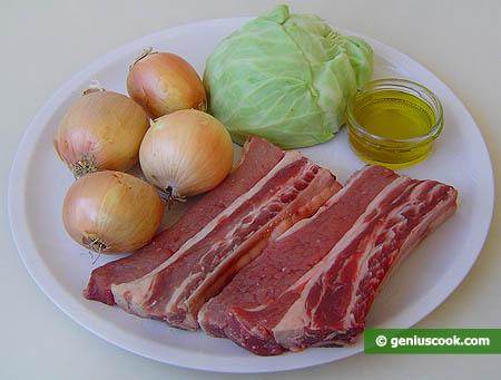 Ингредиенты для ребрышек с капустой