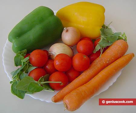 Ингредиенты для салата с помидорами черри