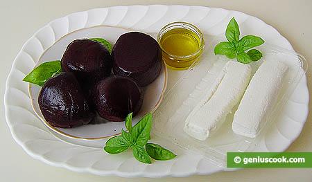 Ингредиенты для закуски с козьим сыром и маринованной свеклой