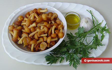 Ингредиенты для опят, жареных с чесноком и петрушкой