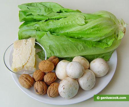 Ингредиенты для салата романа с грибами, орехами, сыром