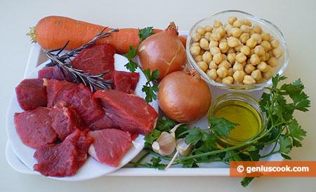 Ингредиенты для говядины с нутом