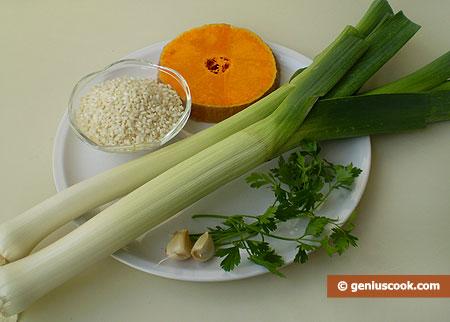Ингредиенты для ризотто с тыквой и луком-пореем