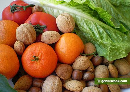 Зелень, овощи, фрукты, орехи