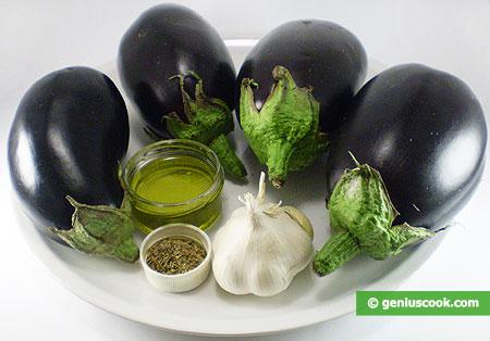 Ингредиенты для баклажанов под оливковым маслом