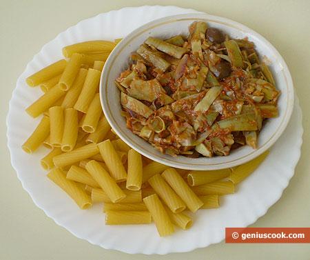 Ингредиенты для итальянской пасты с артишоками
