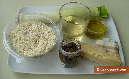 Ингредиенты для ризотто с чёрными трюфелями