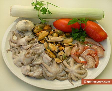 Ингредиенты для супа из морепродуктов