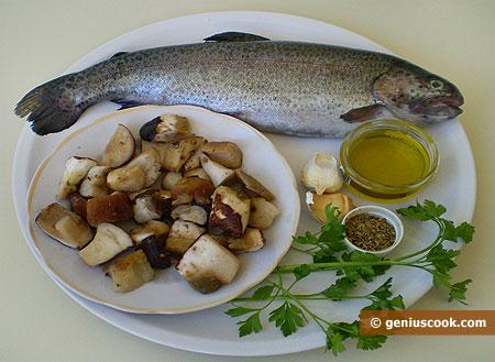 Ингредиенты для форели с грибами