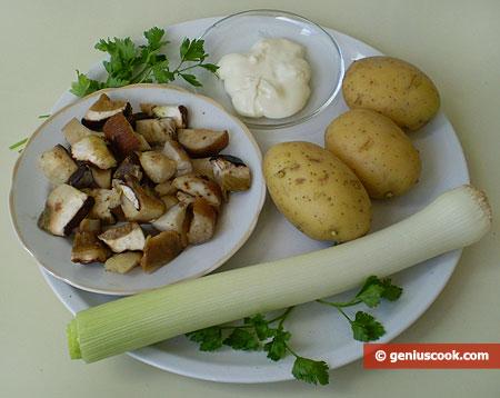 Ингредиенты для супа с сыром и белыми грибами